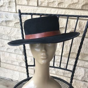vintage winfield cover black leather & suede hat